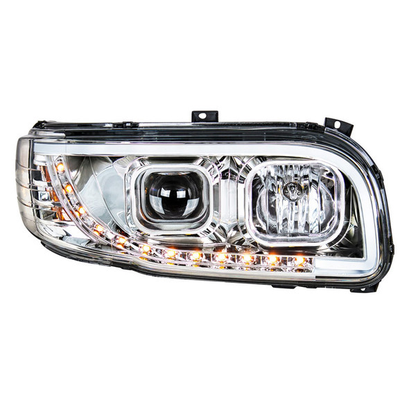 Peterbilt 388 389 Aftermarket Chrome Projection Headlight with LED Bar Front On Passenger