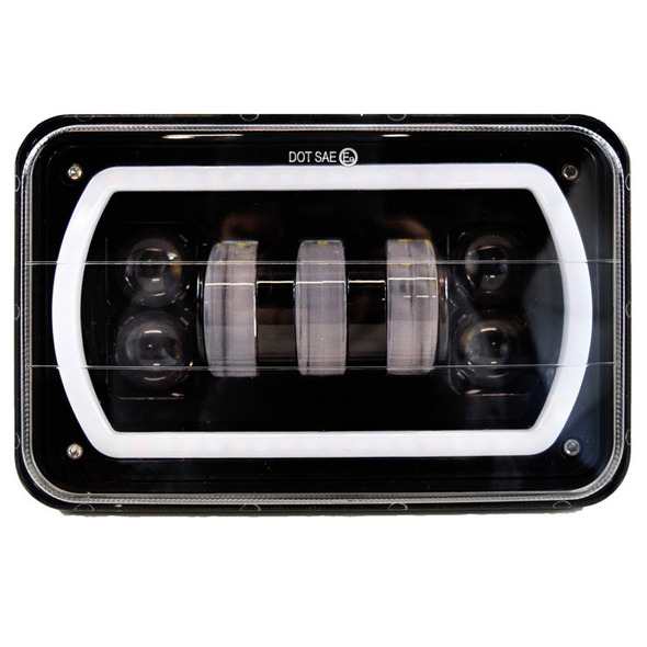 """4"""" x 6"""" Full LED High & Low Beam Rectangular Headlight With Halo Ring- Front"""