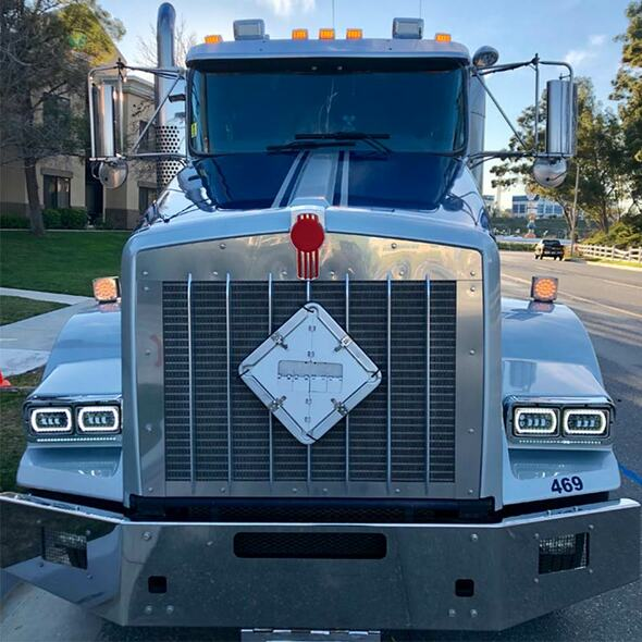 """4"""" x 6"""" Full LED High & Low Beam Rectangular Headlight With Halo Ring- Front View Of Truck"""
