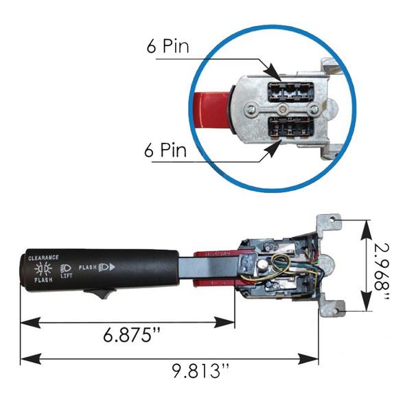 Mack CV Turn Signal Multifunction Switch Dimensions
