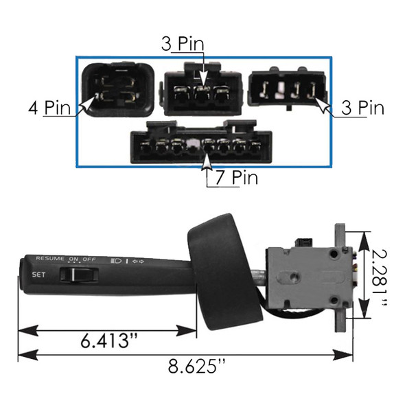 Volvo VN Turn Signal Multifunction Switch Dimensions