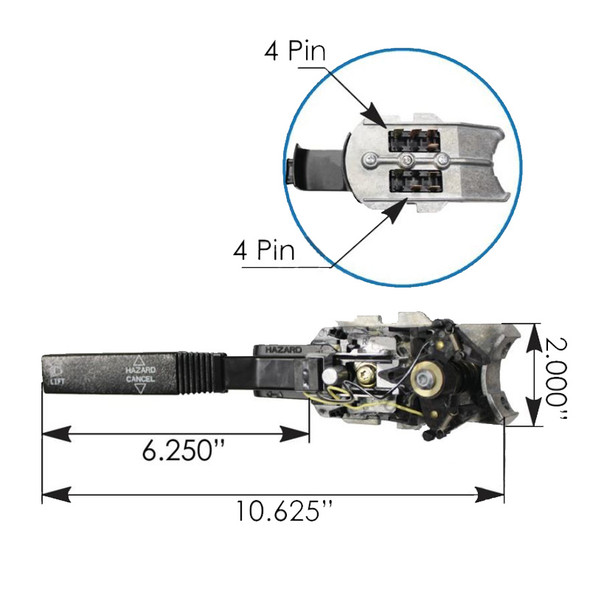 Freightliner Turn Signal Multifunction Switch Dimensions