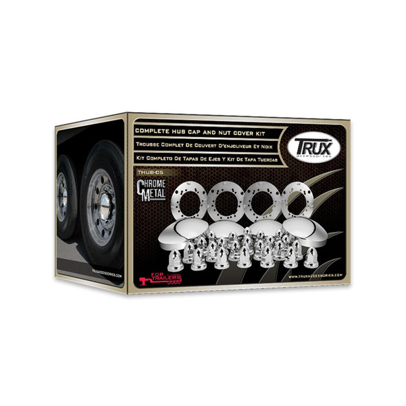 Complete Trailer Hub Cap & Nut Cover Kit Boxed