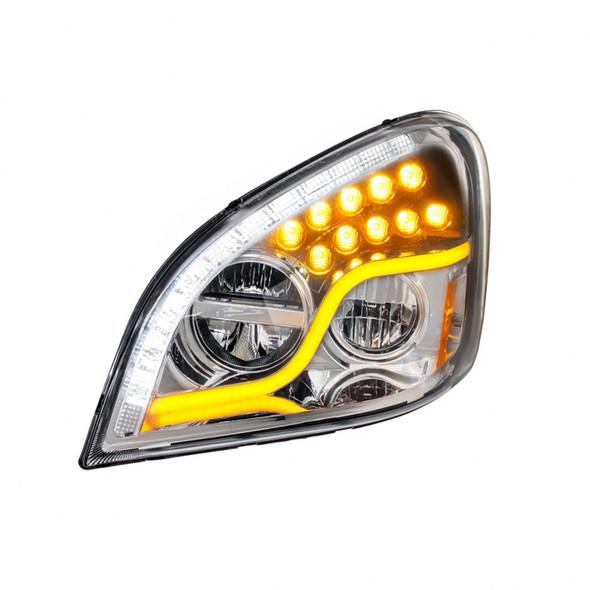 Freightliner Cascadia 2008-2017 LED Chrome Headlight On Front Driver