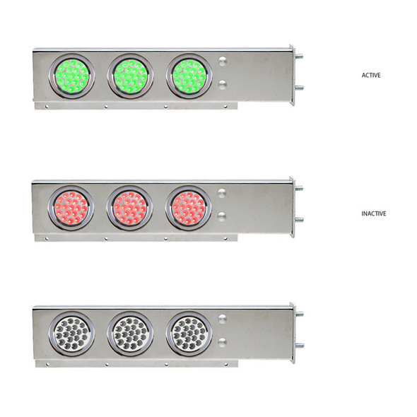 """Mud Flap Hangers With Green/Red Dual Revolution LED Lights 3 3/4"""" Bolt Spacing"""
