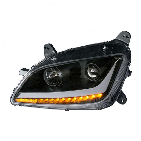 Peterbilt 579 587 Blackout Aftermarket Projector Headlights - Turn Signal On