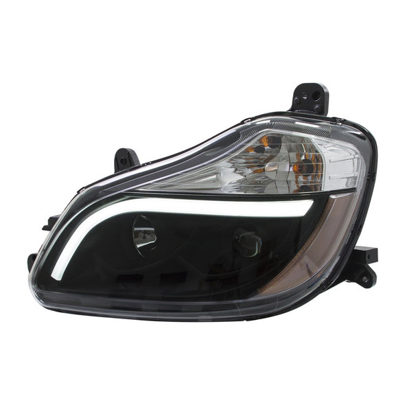 Kenworth T680 Blackout Aftermarket Projector Headlights with LED Bar - Driver Side