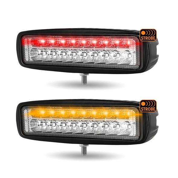 """6"""" Rectangular LED Spot Beam Work Lamp With Strobe Lights Both"""