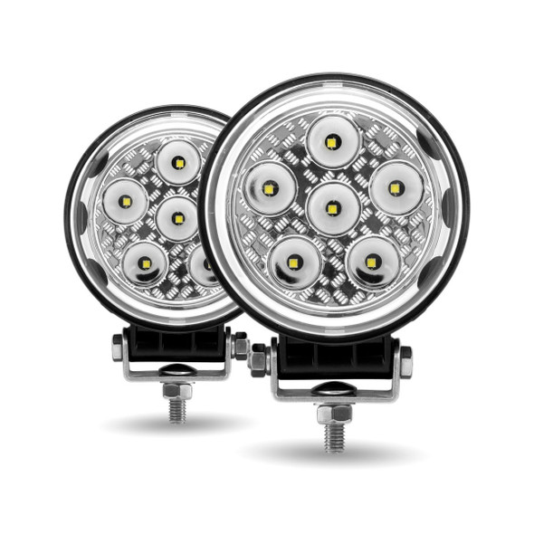 """4.5"""" Round 'Radiant Series' High Power LED Spot And Flood Beam Work Light Front"""