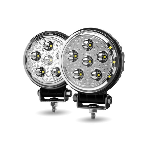 "4.5"" Round 'Radiant Series' High Power LED Spot And Flood Beam Work Light Angled"