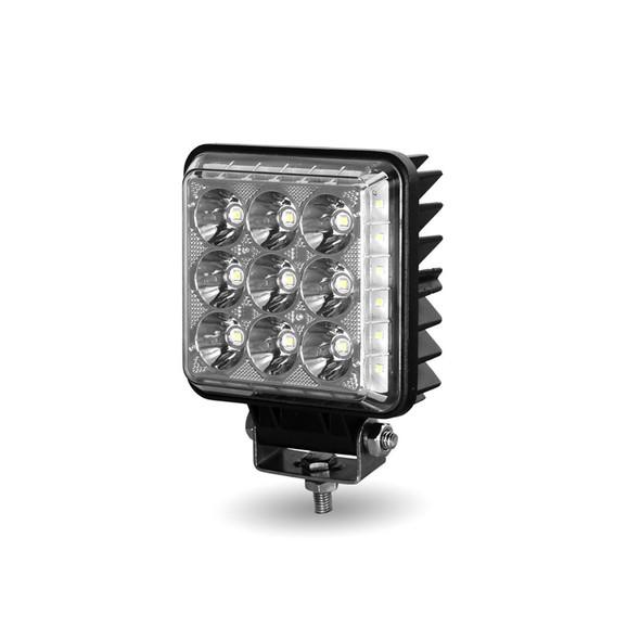 "4.25"" Square 'Radiant Series' Universal LED Spot And Flood Beam Work Light Angled"