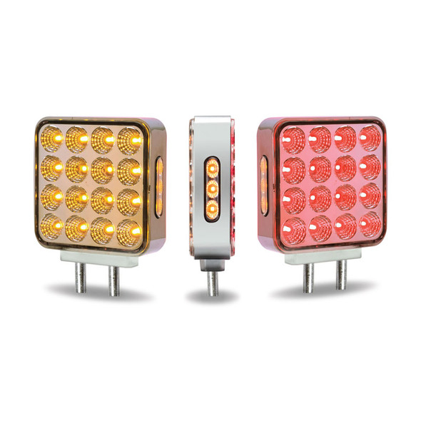 Amber Red 38 LED Square Double Face Fender Light With Reflector