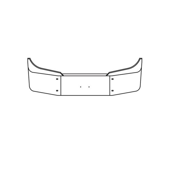 International LT 2017 And Newer 3 Piece Chrome Bumper - Blank