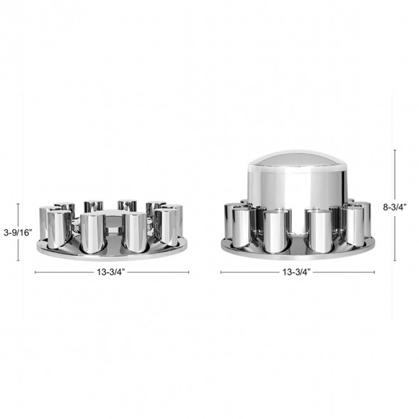 Complete Chrome Cover Kit with Lug Nut Covers Dimensions