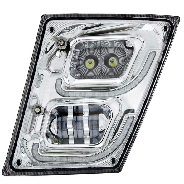 Volvo VN VNL High Power Full LED Chrome Fog Light With Daytime And Position Light Driver Off