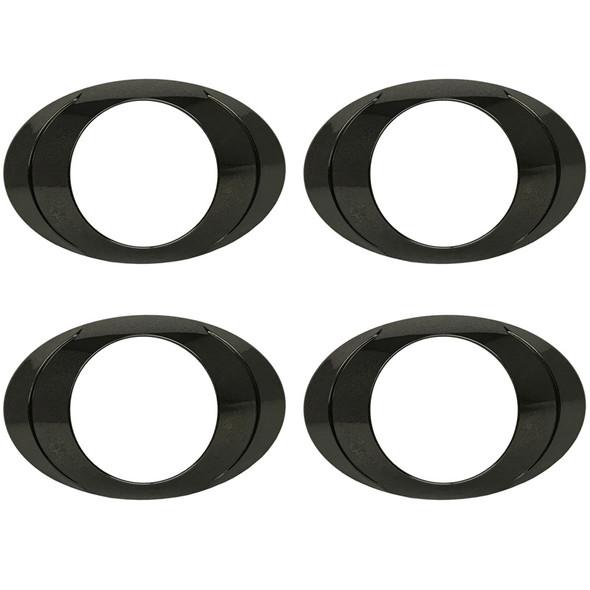 Oval P3 LED Clearance Marker Light Black Chrome Bezel Pack Of 4