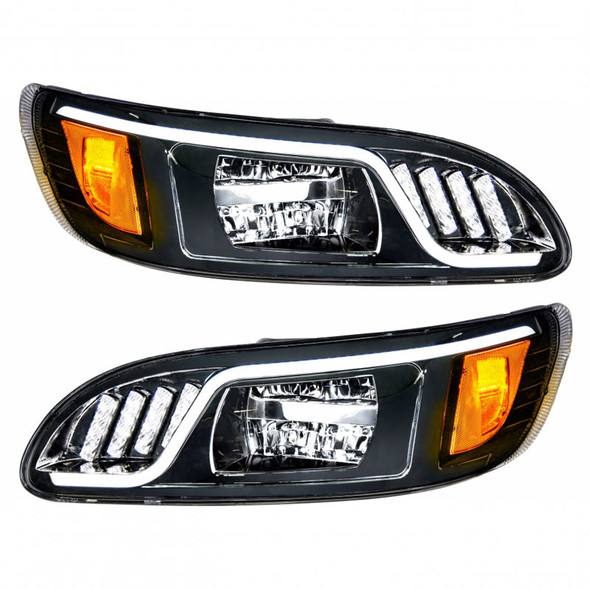 Peterbilt 386 387 LED Blackout Headlight White On