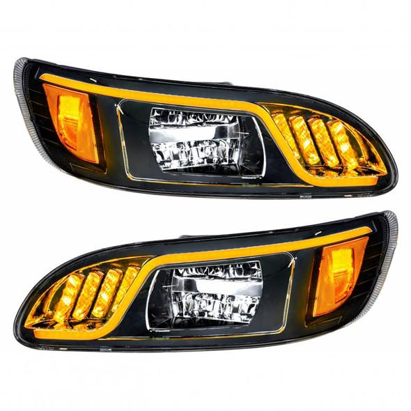 Peterbilt 386 387 LED Blackout Headlight Yellow On