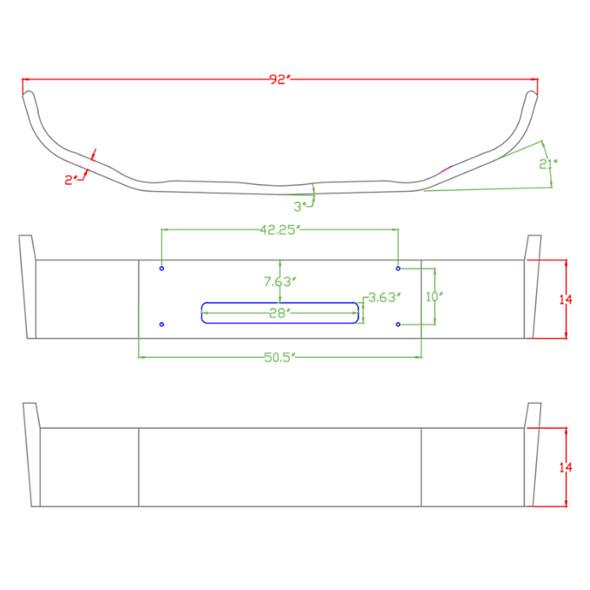 Peterbilt 337 Set Forward Axle Bumper - Diagram
