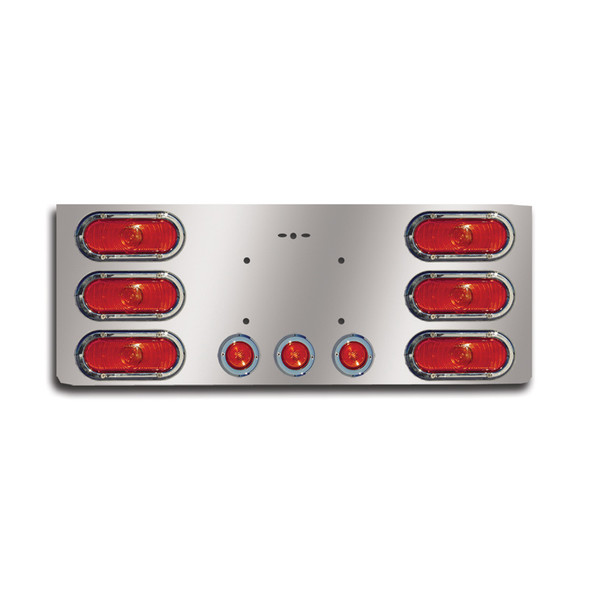 """14"""" Rear Center Panel With Round Lights And License Plate Holes"""