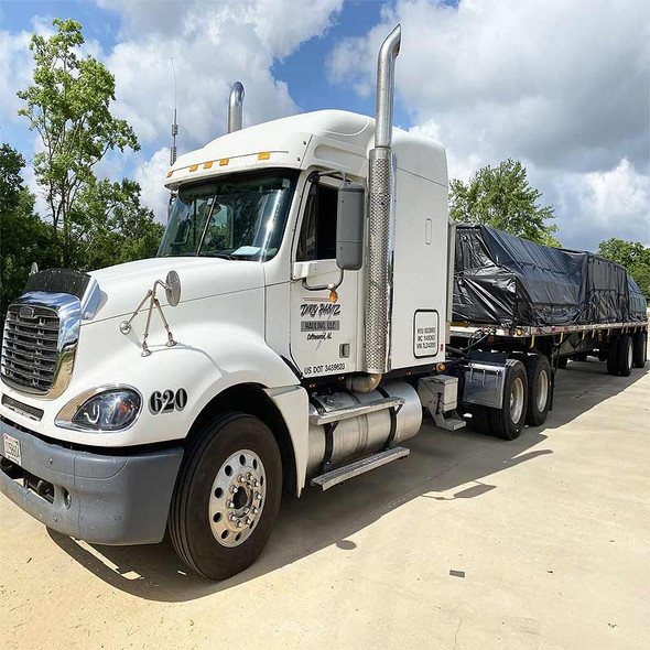Heavy Duty 18oz Lumber Tarp - On Truck Tarp In Use