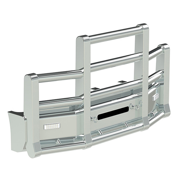 Kenworth T600 Set Back Axle Herd Super Road Train Bumper Grill Guard - Horizontal Tubes With Eyebolts and Signal Lights