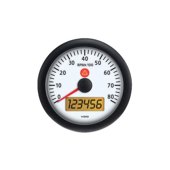 Semi Truck Analog 8,000 RPM Tachometer Gauge Viewline Ivory