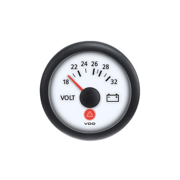 Semi Truck Analog Voltmeter Gauge Viewline Ivory - 24V