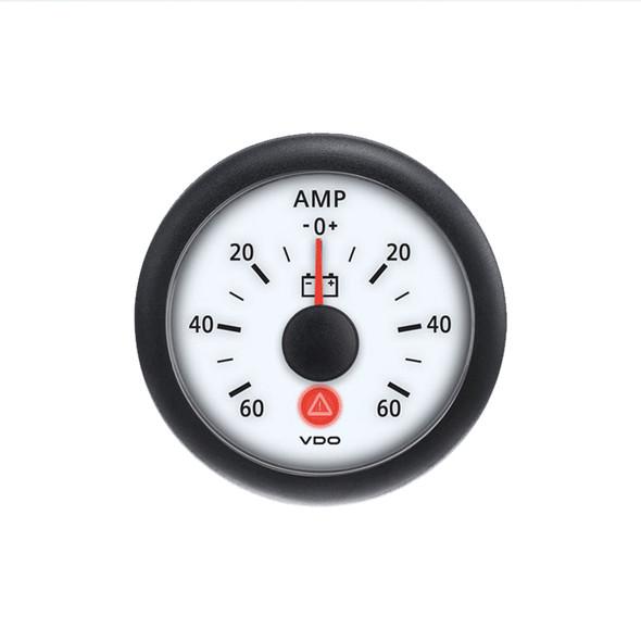 Semi Truck Analog Ammeter Gauge Viewline Ivory - 60 Amps