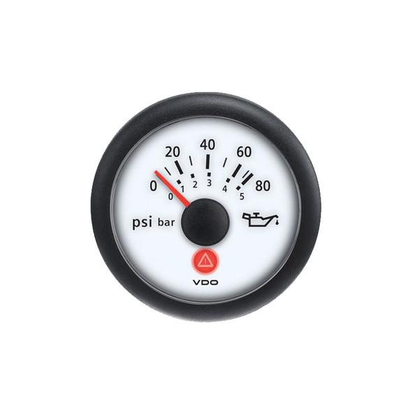 Semi Truck Analog Oil Pressure Gauge Viewline Ivory - 5 Bar