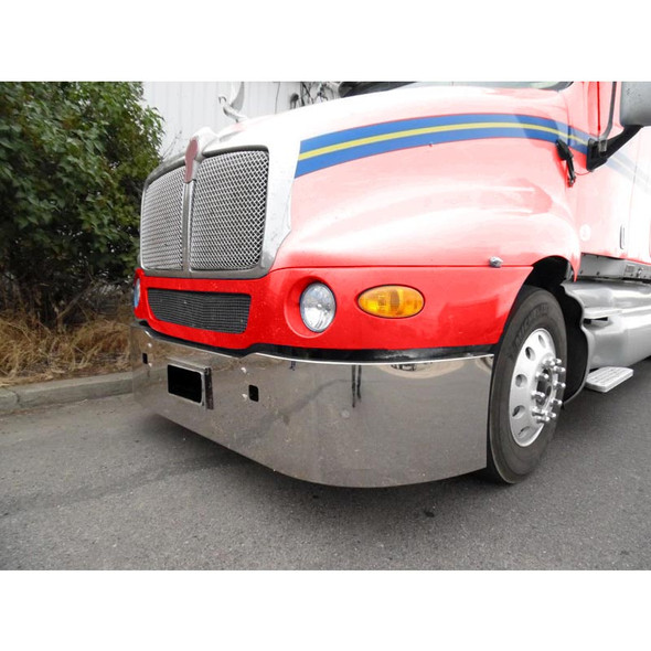 """Kenworth T2000 18"""" Stainless Steel Bumper With Tow Pin Holes - Side View"""
