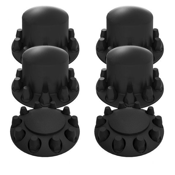 Complete Satin Black Axle Cover Kit With 33MM Thread On Lug Nut Covers