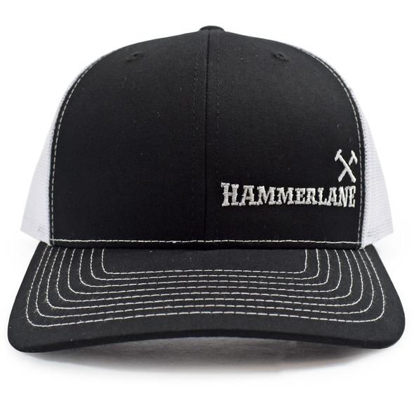 Black & White Hammerlane Cross Hammers Snapback Hat Front