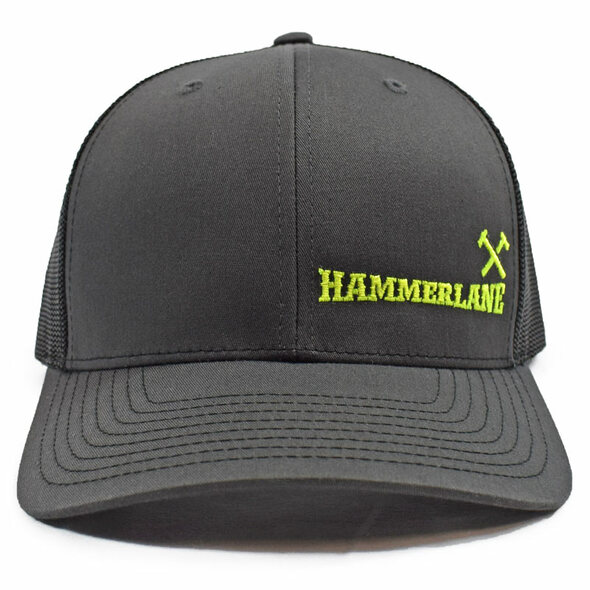Charcoal & Black Hammerlane Cross Hammers Snapback Hat Front