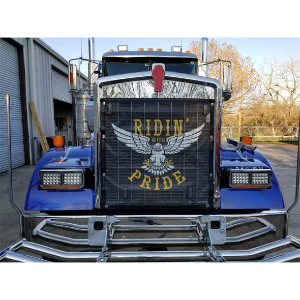 Black Bug Screen With Custom Ridin' With Pride Logo On Truck