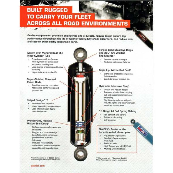 Gabriel HD Fleetline 83000 Series Rear Shock Absorber Information