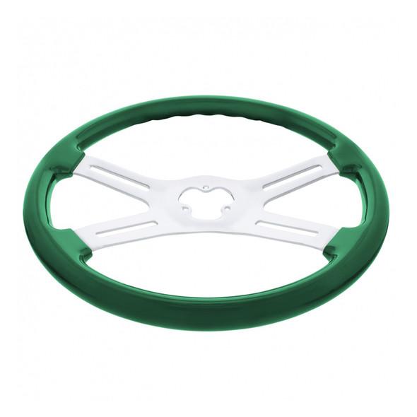 "18"" Vibrant Emerald Green 4 Spoke Steering Wheel Bottom View"