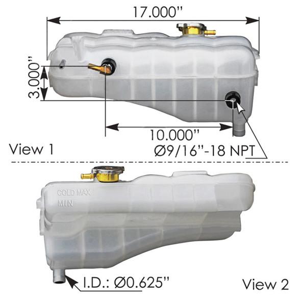 Freightliner Coolant Reservoir Tank - Dimensions
