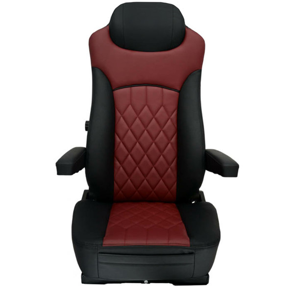 Economy High Back Diamond Pattern Leather Truck Seat With Lumbar Support - Black/Burgundy