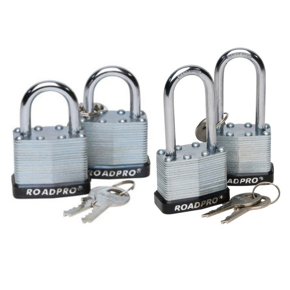 RoadPro Laminated Steel Padlock With Bumper Guard (Options)