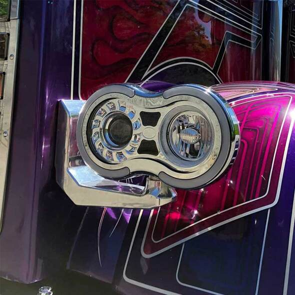 Retro Headlight Bracket Set On Truck