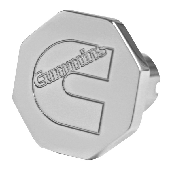 Engraved Cummins Logo Tractor Trailer Air Brake Knob Octagonal - Chrome