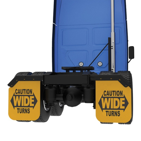 """24"""" x 30"""" Yellow Caution Wide Turns Angled Mud Flap Pair - On Truck"""