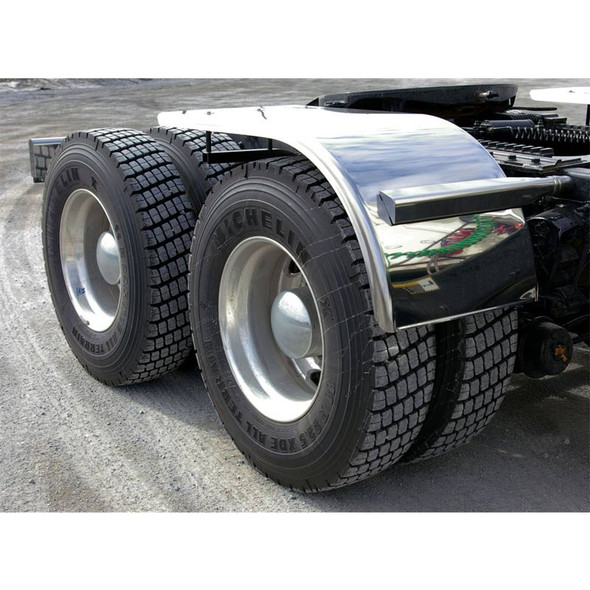 """60"""" Semi Truck Half Fenders Smooth Stainless Steel With Rolled Edge On"""