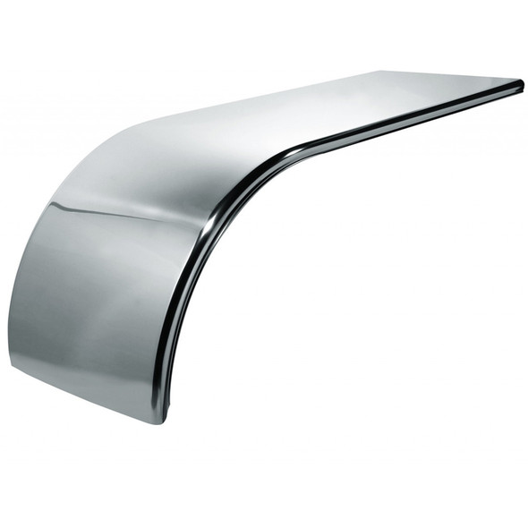 """60"""" Semi Truck Half Fenders Smooth Stainless Steel With Rolled Edge"""