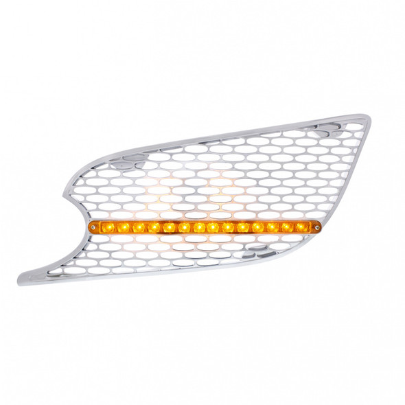 Chrome Air Intake Grill 14 LED Amber Lens Driver Side