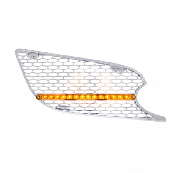 Chrome Air Intake Grill 14 LED Amber Lens Passenger Side