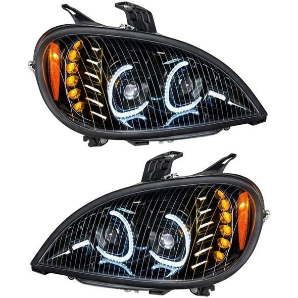 Freightliner Columbia Blackout Full LED Headlight With LED Light Bar Kit