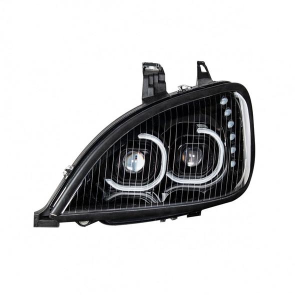 Freightliner Columbia Blackout Full LED Headlight With LED Light Bar
