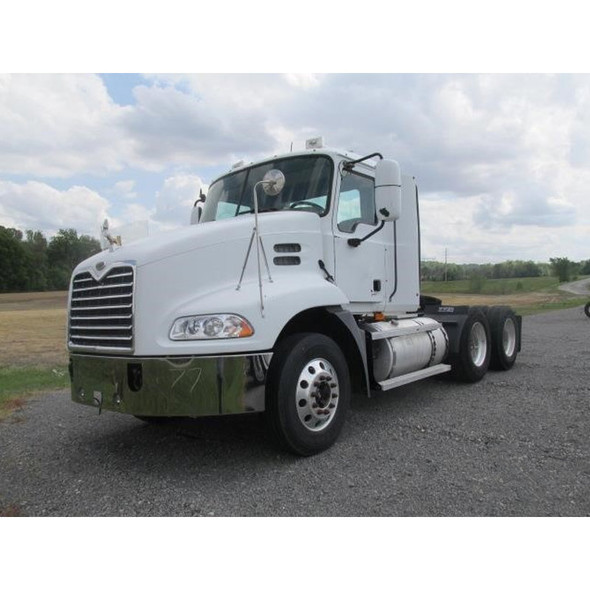 Mack Vision CX613 CXP13 Chrome Bumper With Tow Fog And Step Holes Driver View